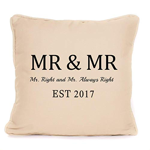 "Personalised""Mr And Mr""Throw Pillow Cushion with Pad 