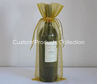 12 Gold Organza Bags - Bottle/Wine Bags Gift Pouch, 6