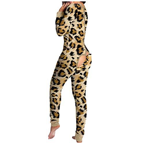 ZPO Pijama Mujer Sexy Pijama Hombre Invierno de Solapa del Botón de Parche Color Sólido, Ropa Interior Mujeres Mono