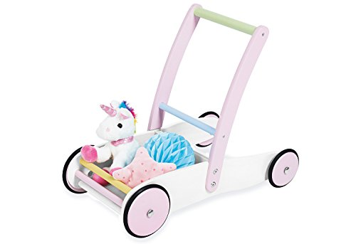 PINOLINO Trotteur Licorne en Bois avec système de freinage et Roues en Bois caoutchouté, Planche d'autocollants, pour Enfants à partir de 1 an, Multicolore