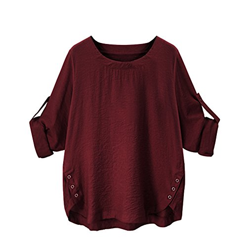 iTLOTL Women O Collar Loose Girl 3/4 Long Sleeve Autunm Plus Size Shirt (Wine Red ,US-16/CN-2XL) 1