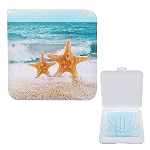 Lurnies Estuche De Almacenamiento Que Cubre La Cara Estrella De Mar Amarilla Ocean Wave Recipiente Con Tapa A Prueba De Polvo, Caja De Mascarilla Portátil 13cmx13cm