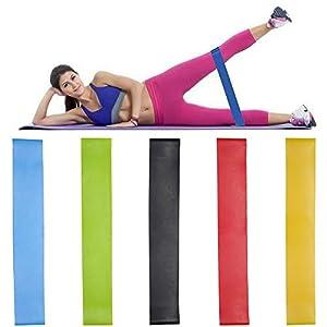 YIHGJJYP 5 Colores de Yoga Bandas de Resistencia de Goma Cubierta Entrenamiento de la Aptitud al Aire Libre Equipo de Entrenamiento Deportivo Bandas elásticas