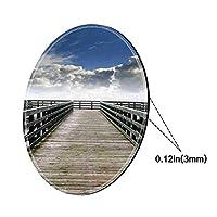 ラウンドマウスパッドマウスパッド、海景、海辺の手すりの雲ベージュ霧の朝と海シースケープビューイメージ、ゲームオフィス用ブルーグレーホワイトパターンゲルゴム-200MMx3MM