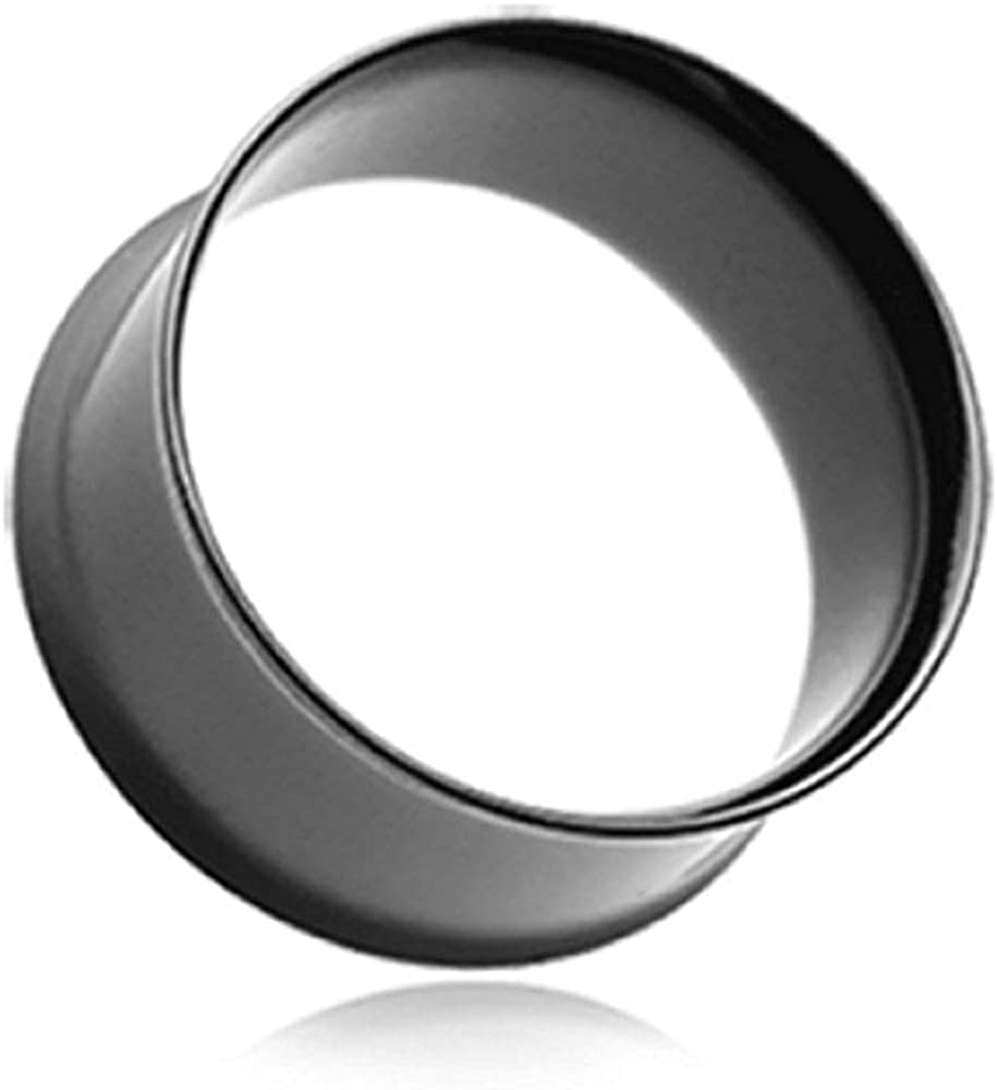 Covet Jewelry Blackline Steel Skinny Double Flared Tunnel Plug