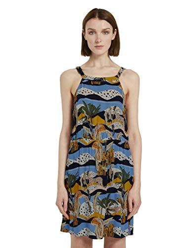 TOM TAILOR Denim Damen Nackenhalter Kleid, 23234-tropical Safari prin, XL