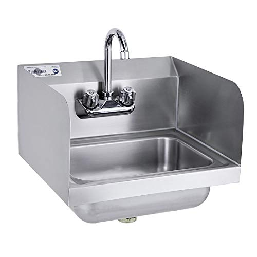 """Profeeshaw Stainless Steel Sink Commercial Wall Mounted Hand Washing Basin NSF with Gooseneck Faucet and Side Splash for Kitchen or Bar 17"""" x 15"""""""