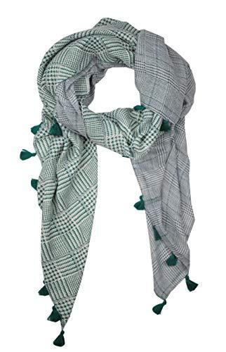 GoFashion Dames sjaal schouderdoek Karo kraanentritt Fransen blauw roze rood mosterd CO045S9504 (groen)