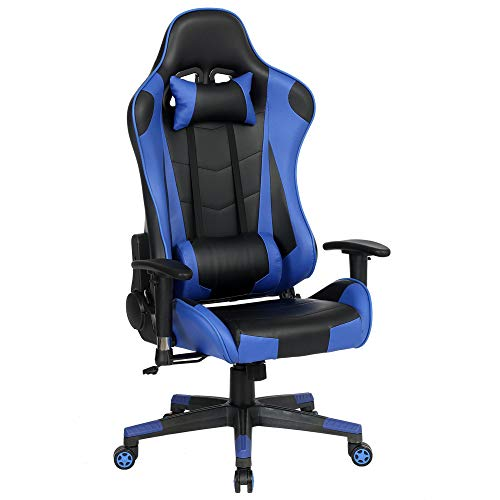 Gaming Chair Ergonomic Office Chair Cheap,Desk Chair,Executive Task Computer Chair Back Support Modern Executive Adjustable Arms Rolling Swivel Chair,Blue
