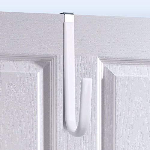 Over Door Hook White - 4Pack Soft Rubber Surface Design to Prevent Article Scratches,Single Door Hook for Bathroom,Kitchen,Bedroom,Cubicle,Shower Room Hanging Towel,Clothes,Pants,Shoe Bag,Coat