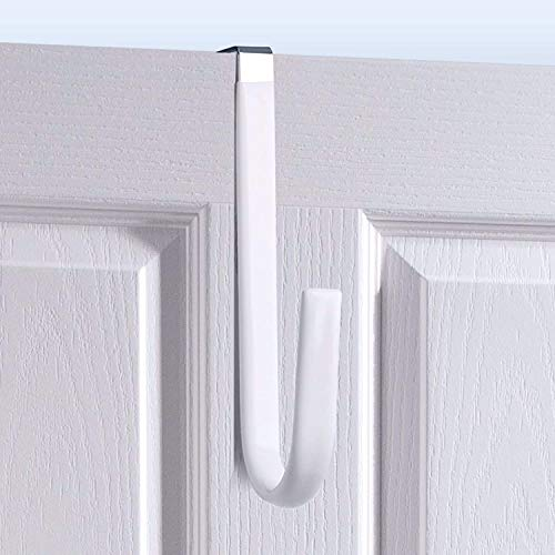 Over Door Hook White - 4Pack Soft Rubber Surface Design to Prevent Article Scratches,Single Door Hook for Bathroom,Kitchen,Bedroom,Cubicle,Shower Room Hanging Towel,Clothes,Pants,Shoe Bag,Coat