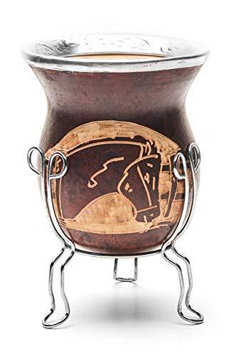 BALIBETOV Mate natürlicher handgefertigter großer Kürbis (Mate Becher) mit Bombilla (Sorbet) für Mate (Pferd)