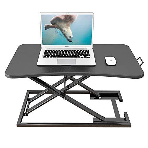 昇降デスク 多機能テーブル ⾼さ調整可能 昇降式 スタンディングデスク オフィスワーク テーブル/デスク/⾷卓 折りたたみ 無段階座位・立位両用 (ブラック)