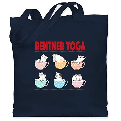 Shirtracer Statement - Rentner Yoga Katzen in Tassen - Unisize - Navy Blau - jutebeutel rentner - WM101 - Stoffbeutel aus Baumwolle Jutebeutel lange Henkel