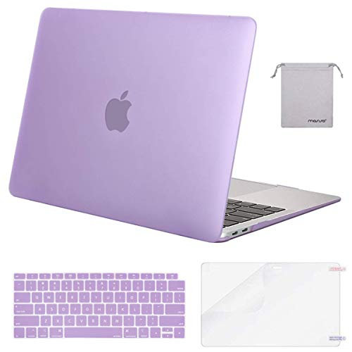 MOSISO MacBook Air 13 inch Case 2020 2019 2018 Release A2179 A1932, Plastic Hard Shell&Keyboard Cover&Screen Protector&Storage Bag Compatible with MacBook Air 13 inch Retina Display, Light Purple