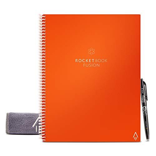 Rocketbook Fusion - Cuaderno de notas reutilizable e inteligente - Naranja, Hoja A4, 7 estilos de páginas para maximizar la productividad, bolígrafo FriXion y toallita incluidas