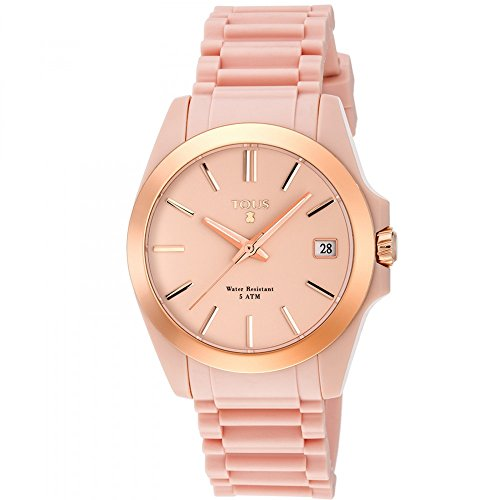 Reloj Tous Drive Fun de acero IP rosado con correa de Silicona nude Ref:700350305