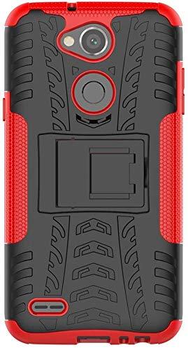 Sunrive Hülle Für LG X Power2, Tasche Schutzhülle Etui Hülle Cover Hybride Silikon Stoßfest Handyhülle Hüllen Zwei-Schichte Armor Design schlagfesten Ständer Slim Fall(rot)