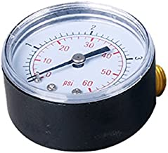 Pool Spa Filter Water Pressure Gauge, 0-60 PSI, Bottom Mount, 1/4-Inch Pipe Thread - Brass Back Mount - Replacement part for Pentair, Hayward and other Standard Filters