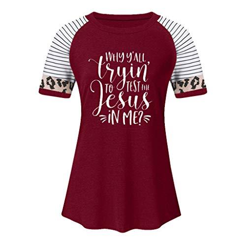 Kolila Damen Casual Brief gedruckt Tunika Bequeme Kurzarm Streifen Leopard Stitching Rundhals T-Shirt Tops Bluse