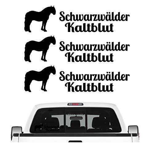 Schwarzwälder Kaltblut Aufkleber 3er Set Pferdeaufkleber Pferd reiten Auto Folie Farbe Schwarz, Größe 30cm