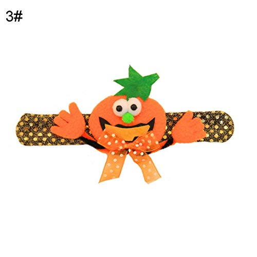 LbojailiAi Halloween Supplies 1 Pieza de Lentejuelas de Calabaza de Halloween para ni?os, Pulsera de Pulsera LED, Suministros para Fiestas - Hojas de Calabaza