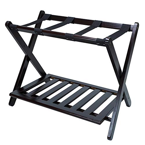 Best Buy! MISC Espresso Brown Hotel Luggage Rack for Guest Room Folding Suitcase Rack Collapsible Ca...