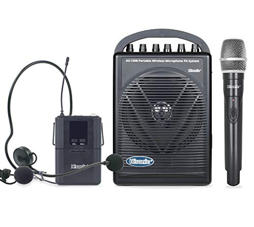 Hisonic HS120B Rechargeable & Portable PA (Public Address) System with Built-in UHF Wireless Microphone (1 Handheld +1 Belt-Pack)