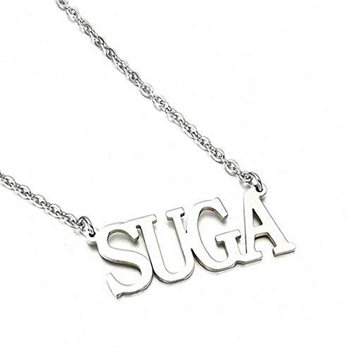 SIMYJOY Collar de Plata Letra Colgante para Fanáticos de Korea POP Cadena de ClaK-popícula Buen Regalo para Fanáticos Korea POP K-pop
