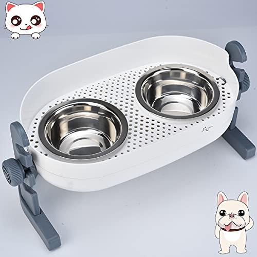 YUDOXN Comedero para Gatos Perros.Comedero y Bebedero para Mascotas con Altura Regulable.2 Cuencos Comedero para Comida y Agua(2x350ML,Inoxidable)