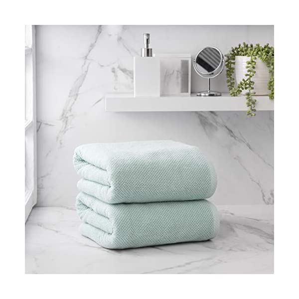 Welhome Franklin 100% Cotton Textured Towel (Aqua) - Set of 2 - Highly Absorbent - Combed Cotton - Durable - Low Lint - 600 GSM - Machine Washable - 2 Bath Sheet on Counter