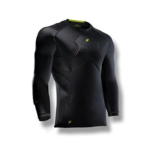 Storelli Camiseta de Portero 3/4 BodyShield Camiseta de fútbol de compresión Ligera | Protector de Pecho | Codo y Hombro Acolchado | Negro | XL