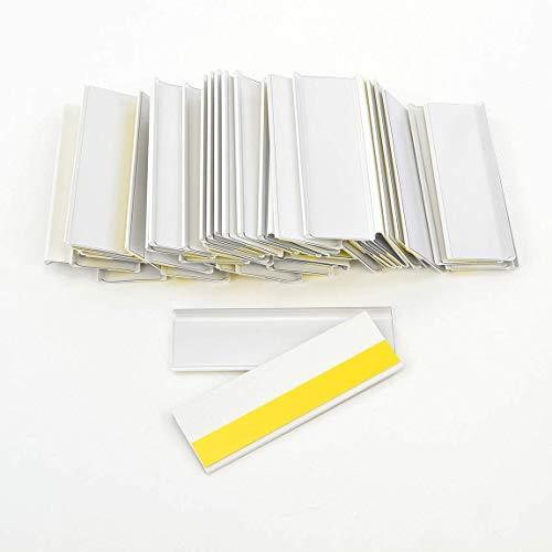 Selbstklebende Etikettenhalter für Einstecketiketten 100 mm Breit/Tickethalter/Etiketten Halter (26 mm Höhe, Weiß, 50 Stück)