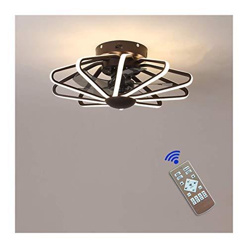 Ventilador de techo con iluminación, ventilador de techo de 160W Luz LED, velocidad de viento ajustable, control remoto regulable, Luz de techo LED moderna, Restaurante Dormitorio Color opcional