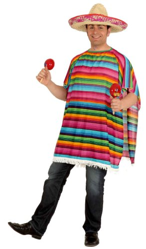 Orlob bunter Poncho Mexiko zum Unisex Kostüm Mexikaner Karneval Fasching