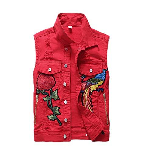 Ejército Verde Rojo Vaquero Streetwear Bordado Denim Algodón Chalecos Hombres Botón Mosca Jeans Sin Mangas Chaqueta Masculino
