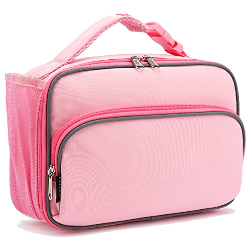 Kids Lunch box Insulated Soft Bag Mini Cooer Back to School Thermal Meal Tote Kit for Girls, Boys,Pink#52