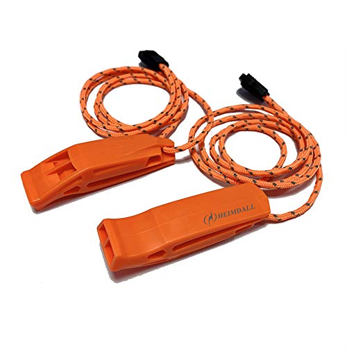 HEIMDALL Emergency Whistle with Lanyard for Safety Boating Camping Hiking Hunting Survival Rescue Signaling (Orange-2 Pack)