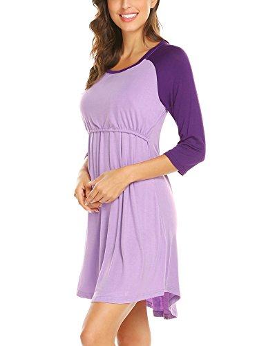 Unibelle Damen Stillnachthemd Umstands-Nachthemd Stillkleid Umstandskleid mit Stillfunktion Lila - 4
