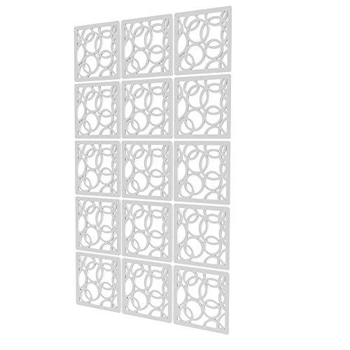 Panel Separador Ambiente de 15 Piezas - 88x147cm - Blanco Panel Decorativo Separador Circulo Separadores Biombo para Hotel De Oficina En Casa