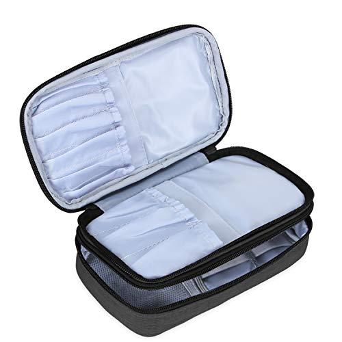 Teamoy Pinseltasche Kosmetik, Reise Kosmetiktasche für Kosmetik Pinsel, Make up Zubehör(nicht mehr als 8.5 Zoll/ 21.5cm) (Kein Zubehör im Lieferumfang enthalten), Schwarz