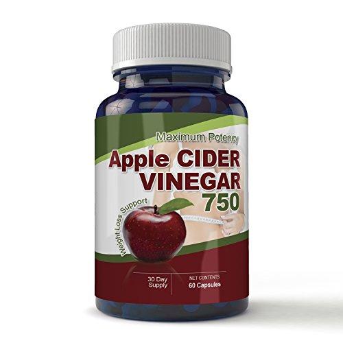 Maximum Potency 750mg Apple Cider Vinegar 60 Capsules - All Natural Weight Loss Supports Natural Detox, Digestion, & Circulation