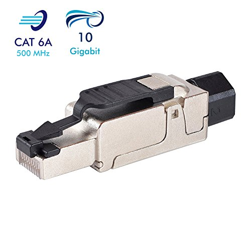VESVITO CAT 6A RJ45 Netzwerkstecker kompatibel mit CAT 7A CAT 7 Netzwerkkabel bis 10 GBit/s Ethernet 500MHz werkzeuglos, geschirmt, Crimpstecker Steckverbinder Stecker für Verlegekabel LAN Kabel