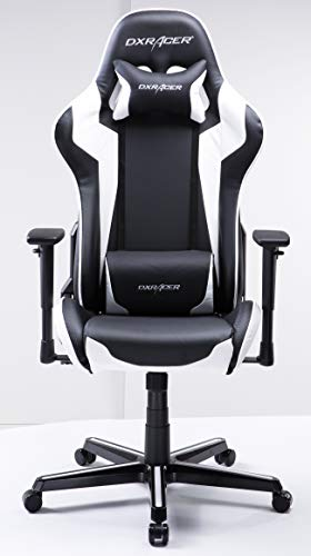 DXRacer USA Formula Series FH00 Gaming Chair Computer Chair Office Chair Ergonomic Design Swivel Tilt Recline Adjustable with Tilt Lock, Includes Headrest Pillow and Lumbar Cushion (White) chair gaming white