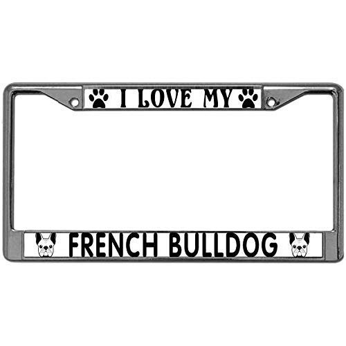 TIANZO License Plate Frame Tag Holder Alloy I Love My French Bulldog Pack License Plate Frame for Canadian Cars Pet Dog Lover License Plate Aluminum Frame