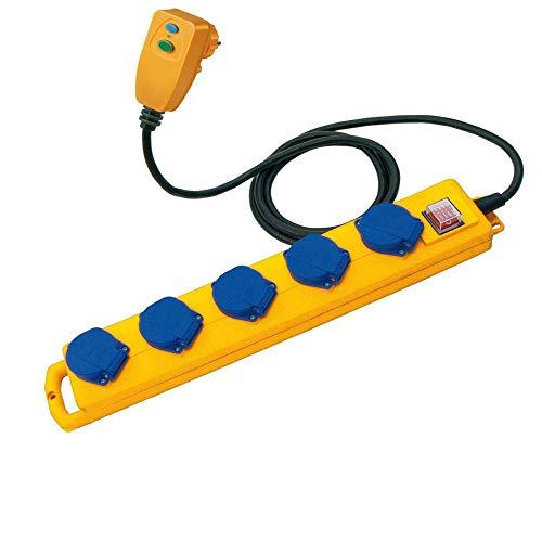 Brennenstuhl Super-Solid SL 544 D FI Steckdosenverteiler/Outdoor Steckdosenleiste (für den Baustelleneinsatz und den ständigen Einsatz im Freien, 5-fach, 5m Kabel, FI-Stecker, IP54) gelb