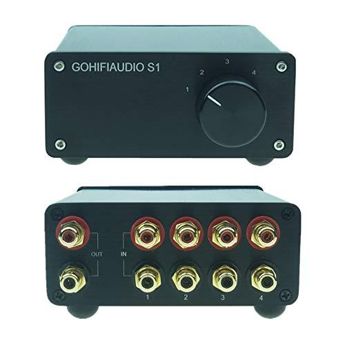 4 en 1 salida RCA Conmutador de audio estéreo Fuente de señal de entrada HiFi Selector Pasivo Caja divisor