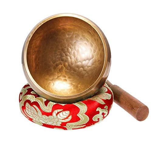 Klangschale Tibetische Meditation Klangschalen Set mit Klöppel und Unterlage für Entspannung, Stress & Angstreduktion, Chakra Heilungen, Gebete, Yoga und Achtsamkeit. 3,7 Zoll Singing Bowl aus Tibet