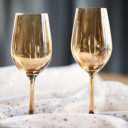 JHM-Ámbar Cristal de Galvanoplastia Copas de Vino Dorado Copa Diseño Clásico y Elegante Adecuado para Muchas Ocasiones