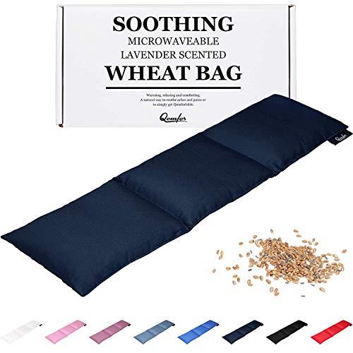 Bolsa de trigo para alivio del dolor, gran paquete de calor calmante, apta para microondas, trigo y lavanda, calentador de cuello caliente para cuello y hombros, alivio del dolor de período